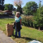 Bagging up weeds